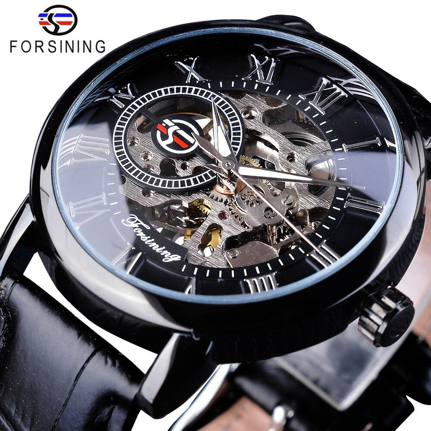 Forsining Fashion 3D Hollow Engraving Design Full Black Skeleton Clock Luminous Hands Men's Mechanical Watches Top Brand Luxury - Slabiti