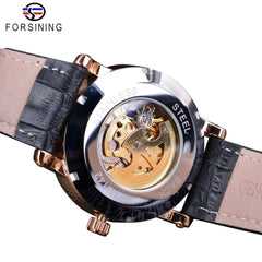 Forsining Fashion Blue Hands Design Rose Golden Clock Men's Automatic Watches Top Brand Luxury Black Genuine Leather Belt - Slabiti