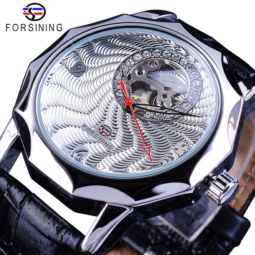 Forsining Fashion Diamond Display Half Skeleton Design Unique Fashion Dial Mens Silver Watches Top Brand Luxury Neutral Casual - Slabiti