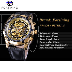 Forsining Fashion Mechanical Watch Top Brand Luxury Gold Watches Steampunk Design Luminous Hands Transparent Case Uhren Herren - Slabiti