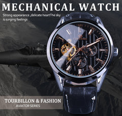 Forsining Fashion Tourbillion Luminous Hands Display Genuine Leather Men Mechanical Watch Top Brand Luxury Automatic Wrist Watch - Slabiti