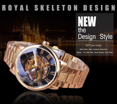 Forsining Fashion Wearing Retro Design Mechanical Skeleton Watch Steampunk Design Transparent Mens Watch Top Brand Luxury Clock - Slabiti