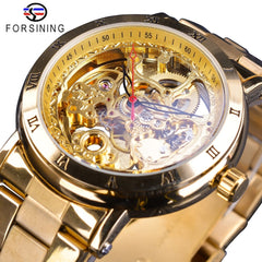 Forsining Full Golden Luxury Watches Black Red Hands Design Waterproof Men's Automatic Watches Folding Clasp with Safety Clock - Slabiti