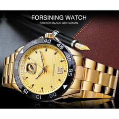Forsining Golden Automatic Mechanical Mens Watch Stainless Steel Waterproof Luminous Hands Top Brand Luxury Fashion Reloj Hombre - Slabiti