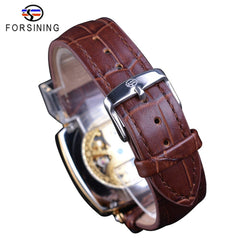 Forsining Golden Luxury Brown Leather Belt Mens Mechanical Skeleton Wrist Watch Top Brand Luxury Square Case Male Creative Clock - Slabiti