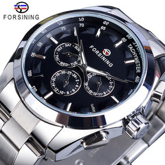 Forsining Golden Men Mechanical Watch Fashion 3 Dial Calendar Steel Band Business Gentleman Automatic Watches Clock Montre Homme - Slabiti