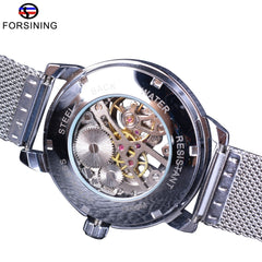 Forsining Hand Winding Mechanical Watch Fashion Skeleton Design Silver Stainless Steel Band Casual Wrist Watch Luminous Hands - Slabiti