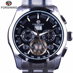 Forsining Luxury Business Male Wrist Watch Tourbillion Stainless Steel Design Calendar Mens Automatic Watches Top Brand Luxury - Slabiti