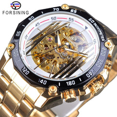 Forsining Mechanical Steampunk Design White Golden Stainless Steel Skeleton Gear Movement Men Automatic Watches Top Brand Luxury - Slabiti