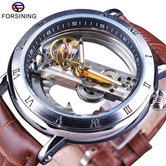 Forsining Minimalism Design Leather Transparent Skeleton Men Watches Top Brand Luxury Steampunk Mechanical Automatic Wristwatch - Slabiti