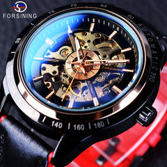 Forsining Motorcycle Design Genuine Black Belt Waterproof Skeleton Men Automatic Watches Top Brand Luxury Mechanical Male Clock - Slabiti