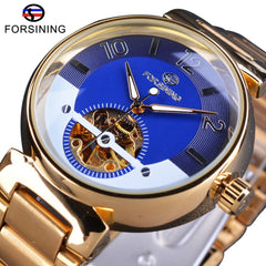 Forsining Ocean Luxury Dial Design Small Skeleton Display Golden Stainless Steel Mens Automatic Watches Top Brand Luxury Clock - Slabiti