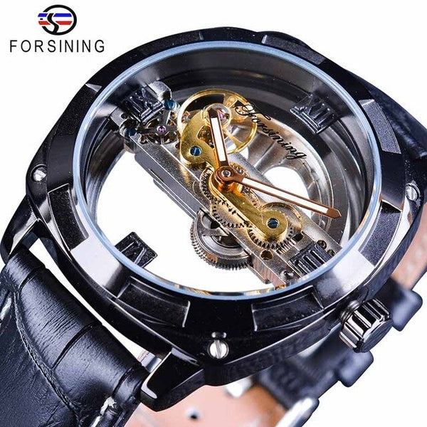 Forsining Official Exclusive Sale Double Side Transparent Military Mens Steampunk Leather Top Brand Luxury Automatic Sport Watch - Slabiti