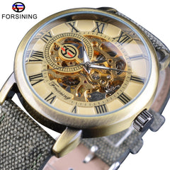 Forsining Retro Bronze Design Roman Green Band Luminous Military Men Wrist Watches Top Brand Luxury Mechanical Skeleton Watch - Slabiti