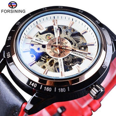 Forsining Watch + Bracelet Set Combination Motorcycle Transparent Genuine Red Black Strap Skeleton Male Automatic Watches Clock - Slabiti