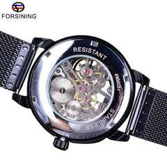 Forsining Watch + Bracelet Set Combination Skeleton Sport Mechanical Luminous Hands Transparent Mesh Steel Band Men Luxury Clock - Slabiti