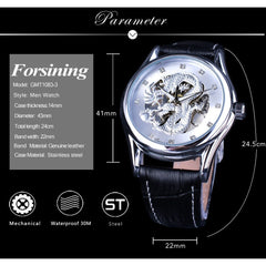 Forsining Watches Mens Luxury Brand Automatic White Chinese Dragon Display Wrist Watch Black Genuine Leather Band Luminous Hands - Slabiti
