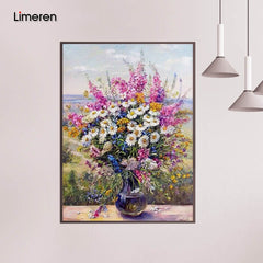 Framed Daisy Flower DIY Oil Painting Painting By Numbers Acrylic Paint On Canvas Home Decor For Living Room - Slabiti
