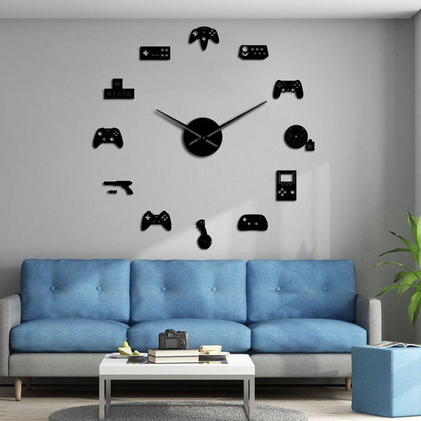 Game Controller Video DIY Giant Wall Clock Game Joysticks Stickers Gamer Wall Art Video Gaming Signs Boy Bedroom Game Room Decor - Slabiti