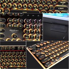 Gaming Russian Keyboard Retro Round Glowing Keycap Metal Panel Backlit USB Wired Metal Panel Illuminated Border Waterproof - Slabiti