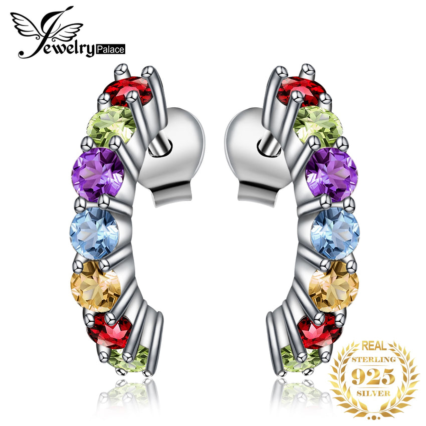 Genuine Amethyst Garnet Peridot Topaz Stud Earrings 925 Sterling Silver Earrings For Women Korean Earings Fashion Jewelry 2019 - Slabiti