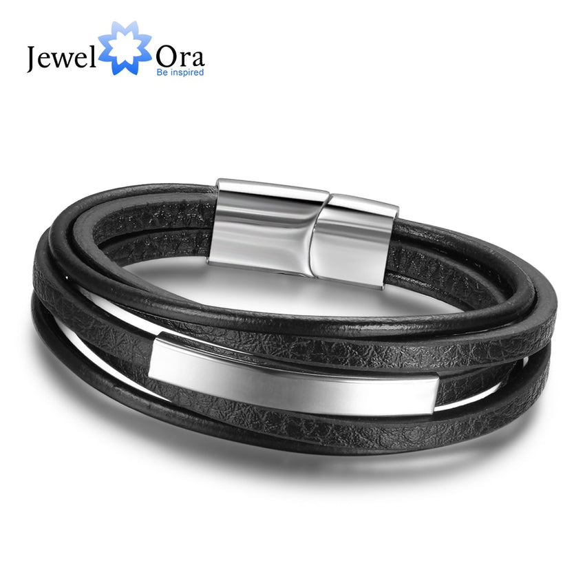 Genuine Leather Bracelets For Men Stainless Steel Bracelets & Bangles Fashion  Accessorise Father's Day Gift (JewelOra BA101879) - Slabiti