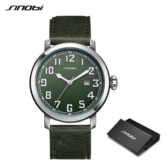 Genuine Leather Watch Men Sinobi Men Watches Japan Imported Movement Sports Military Watches Male Fashion Simple Wristwatches - Slabiti