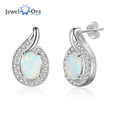 Geometric White Opal Stud Earrings 925 Sterling Silver Earrings Silver 925 Jewelry Fine Gift for Women (Jewelora EA103255) - Slabiti