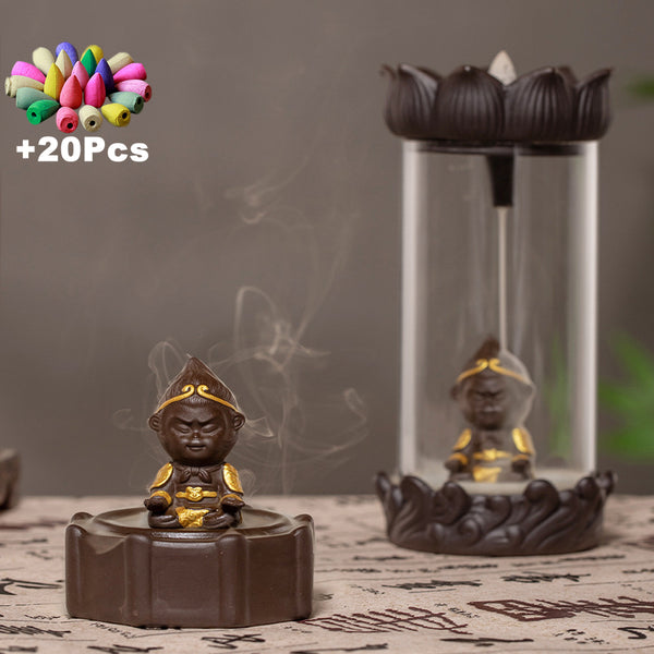 Gift 20Pcs Incense Creative Decorations Gift Zen Monkey King Windproof Backflow Incense Burner Feng Shui Mascot Micro Landscape - Slabiti