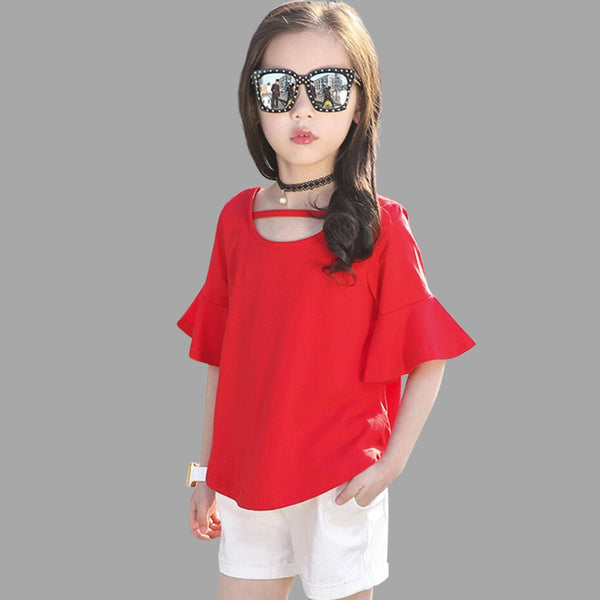 Girls Clothes 2018 Summer Shorts + Pants 2 PCS Outfits For Girls Casual Style Teenage Kids Girls Clothes 8 10 12 14 Age - Slabiti