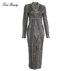 Glittering Womens Turtleneck Long Sleeve Sequin Maxi Bodycon Dress Elegant Stretch Geometrical Foil Party Dress Vestidos - Slabiti