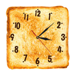 Gourmet Home Decor Realistic Toasted Bread Wall Clock Bakery Sign Bread Dining Room Wall Art Silent Quartz Kitchen Wall Clock - Slabiti