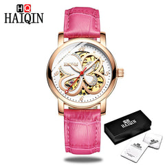 HAIQIN Ladies dress watches women watches top brand luxury sport wrist watch mechanical watch Fashion leather relogio feminino - Slabiti