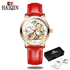 HAIQIN Women Watch Luxury Brand Automatic Mechanical Ladies Authentic Fashion Hollow Waterproof Watch Four-Leaf Clover - Slabiti