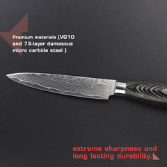 "HAOYE 5"" Damascus utility knife small kitchen knives peel fruit living room paring knife color wood handle classic fashion NEW - Slabiti"