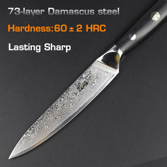 HAOYE 5 inch damascus utility knife vg10 steel kitchen chef knives fruit paring knife multipurpose small knife G10 handle - Slabiti