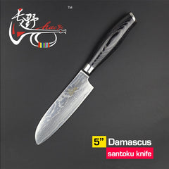 "HAOYE 5"" santoku knife Japanese damascus kitchen knife small paring fruit durable forge sharp high quality knife multipurpose - Slabiti"