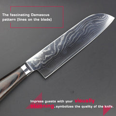 HAOYE 7 inch damascus Salmon knife Japanese kitchen santoku knives vg10 stainless steel cut fish meat vegetable wood handle new - Slabiti