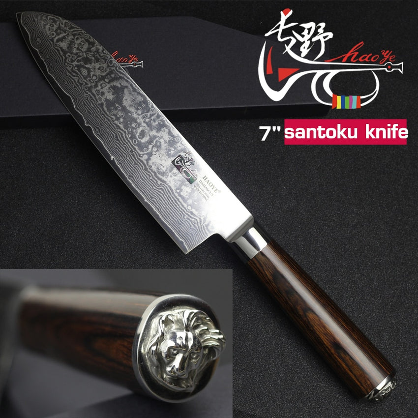 HAOYE 7 inch damascus santoku knife Japanese kitchen knives vg10 damascus steel sushi fish knife with beautiful statue gift - Slabiti