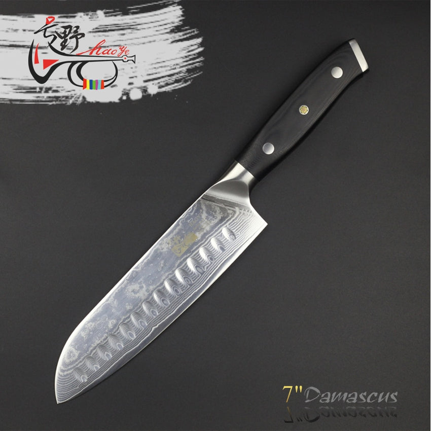 HAOYE 7 inch damascus santoku knife Japanese vg10 steel kitchen knives g10 handle with rivets multipurpose cutlery - Slabiti