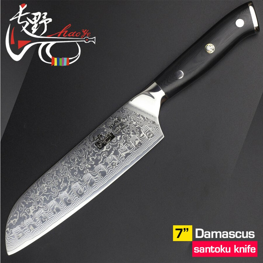 HAOYE 7 inch damascus santoku knife vg10 steel Japanese kitchen chef knives multipurpose slicer Anti-skid G10 handle sharp - Slabiti