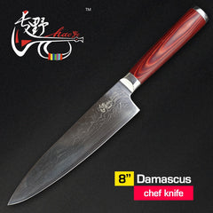 HAOYE 8 inch Chef knives NEW Damascus kitchen knife Japanese vg10 steel fish sashimi slicer Dicing wood handle free shipping - Slabiti