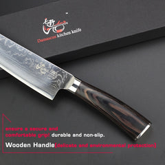 "HAOYE 8"" inch Damascus kitchen knives Japanese stainless steel sashimi Dicing fillet slicer chef Knife bend handle free shipping - Slabiti"