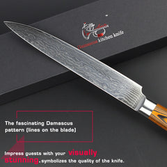 HAOYE 8 inch damascus cleaver kitchen knives Japanese quality vg10 steel sushi sashimi knife cut meat fish fillet slicing sharp - Slabiti