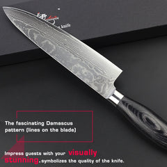 HAOYE damascus chef knife Japanese vg10 super steel kitchen knives very sharp durable pakkawood handle Grip nonslip high quality - Slabiti