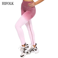 HIFOLK Fashion Women Fitness Seamless Leggings High Waist Push Up Pants Workout Jogging New Women Sporting Activewear Leggings - Slabiti