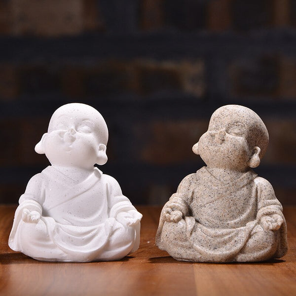 Handcrafted Gift Sandstone Cute Little Monk Buddha Statue Lucky Fengshui Maitreya Ornament Figurines Home Office Decor Tea Pet - Slabiti