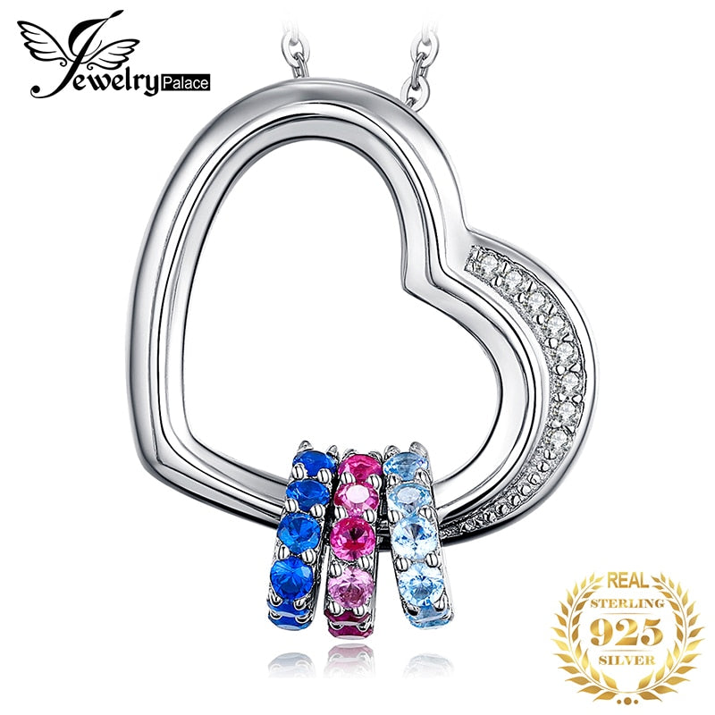 Heart Created Pink Blue Sapphire Pendant Necklace 925 Sterling Silver Gemstones Choker Statement Necklace Women Without Chain - Slabiti
