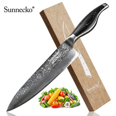 High Quality SUNNECKO 8 inch Damascus Chef Knife Damascus Steel Blade Kitchen Knives Pakka Wood Handle Sharp Chef Cutting Tools - Slabiti
