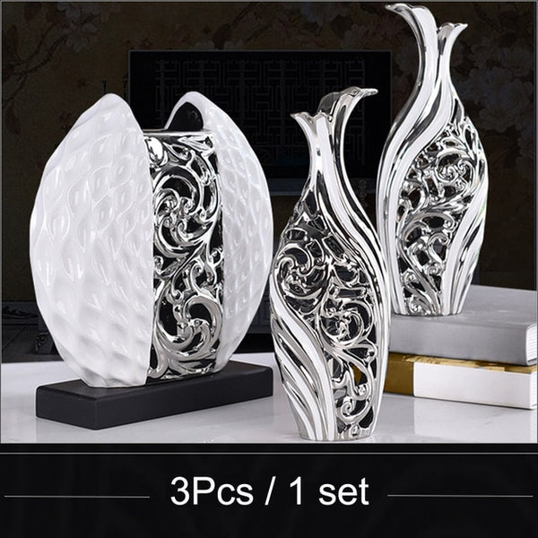High quarity European Modern Fashion Ceramic Flower Vase fashion home wedding decoration creative TV desk accessories crafts